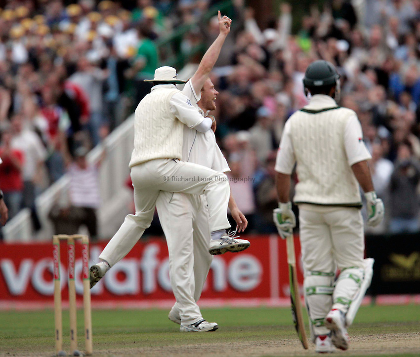 Photo: Peter Phillips..England v Australia. nPower Test Match Series, The Ashes 3rd Test. 15/08/2005..England skipper Michael Vaughan leaps on Andrew Flintoff after the all rounder had bowled Matthew Hayden