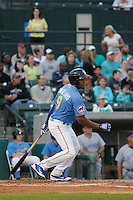 Myrtle Beach Pelicans infielder Jeimer Candelario (9) at bat during  a game against the Wilmington Blue Rocks at Ticketreturn.com Field at Pelicans Ballpark on April 10, 2015 in Myrtle Beach, South Carolina.  Wilmington defeated Myrtle Beach 8-3. (Robert Gurganus/Four Seam Images)