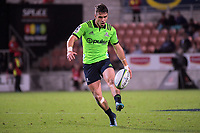 Fletcher Smith chips ahead during the Super Rugby match between the Chiefs and Highlanders at FMG Stadium in Hamilton, New Zealand on Friday, 30 March 2018. Photo: Dave Lintott / lintottphoto.co.nz