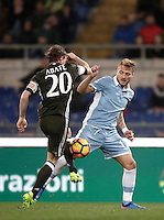Calcio, Serie A: Lazio, Stadio Olimpico, 13 febbraio 2017.<br /> Lazio's Ciro Immobile (r) in action with Milan's Ignazio Abate (l) during the Italian Serie A football match between Lazio and Milan at Roma's Olympic Stadium, on February 13, 2017.<br /> UPDATE IMAGES PRESS/Isabella Bonotto