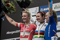 Elena Pirrone (ITA) wins her 2nd rainbow jersey in 3 days (after winning the junior iTT title earlier) <br /> Emma Cecilie Norsgaard (DEN) wins silver and Letizia Paternoster (ITA) bronze.<br /> <br /> Women Junior Road Race<br /> <br /> UCI 2017 Road World Championships - Bergen/Norway