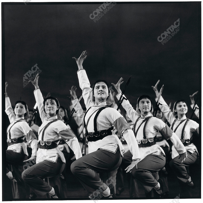 In the auditorium of the provincial capital's North Plaza Hotel, dancers from the Heilongjiang Song and Dance Company perform Militia Women, a piece about women training to join the fight against reactionaries and imperialists. Harbin, Heilongjiang province, 25 April 1966