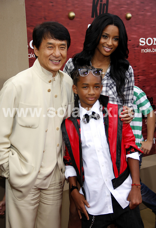 **ALL ROUND PICTURES FROM SOLARPIX.COM**.**SYNDICATION RIGHTS FOR UK, AUSTRALIA, DENMARK, PORTUGAL, S. AFRICA, SPAIN & DUBAI (U.A.E) & ASIA (EXCLUDING JAPAN) ONLY**.The Karate Kid Los Angeles Premiere - Arrivals, Mann Village Theater / Westwood, CA, USA,  07 June 2010.This pic: Jackie Chan, Jaden Smith and Ciara.JOB REF: 11422    PHZ gabber    DATE: 07_06_2010.**MUST CREDIT SOLARPIX.COM OR DOUBLE FEE WILL BE CHARGED**.**MUST NOTIFY SOLARPIX OF ONLINE USAGE**.**CALL US ON: +34 952 811 768 or LOW RATE FROM UK 0844 617 7637**