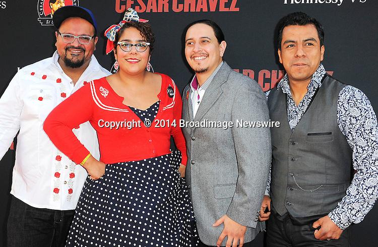 Pictured: La Santa Cecilia Band<br /> Mandatory Credit &copy; Adhemar Sburlati/Broadimage<br /> Film Premiere of Cesar Chavez<br /> <br /> 3/20/14, Hollywood, California, United States of America<br /> <br /> Broadimage Newswire<br /> Los Angeles 1+  (310) 301-1027<br /> New York      1+  (646) 827-9134<br /> sales@broadimage.com<br /> http://www.broadimage.com