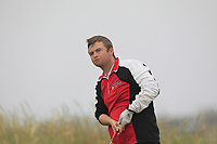 Owen Crooks (Bushfoot) on the 1st tee during Round 1 - Matchplay of the North of Ireland Championship at Royal Portrush Golf Club, Portrush, Co. Antrim on Wednesday 11th July 2018.<br /> Picture:  Thos Caffrey / Golffile
