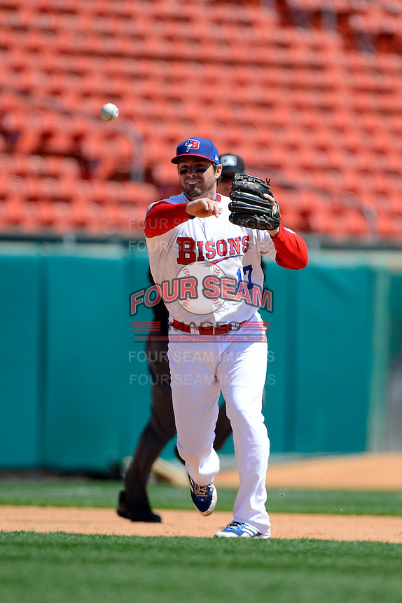 Buffalo Bisons third baseman Andy LaRoche #17 throws to first during the first game of a doubleheader against the Pawtucket Red Sox on April 25, 2013 at Coca-Cola Field in Buffalo, New York.  Pawtucket defeated Buffalo 8-3.  (Mike Janes/Four Seam Images)