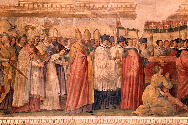Painting of Procession of Pope Lucio the Third (1183 AD) in the Medieval CHURCH OF SANTA MARIA MAGGIORE - TUSCANIA - TUSCANY, ITALY