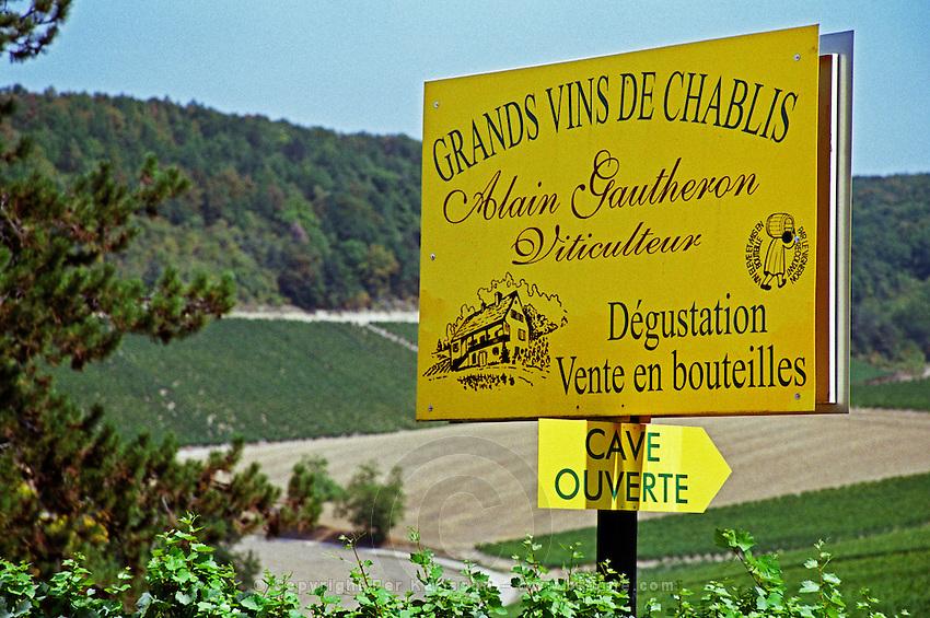 Sign: Alain Gautheron, Grand Vins de Chablis, just west of the Chablis village Fleys, Bourgogne