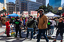 W. Kamau Bell at Day 1 of the Oakland Teacher Strike in downtown Oakland. The Oakland Education Association settled with the Oakland Unified School District after a seven day strike.