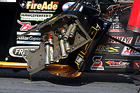 Sep 3, 2017; Clermont, IN, USA; Detailed view of damage to the engine on the car of NHRA top fuel driver Tony Schumacher after exploding an engine during qualifying for the US Nationals at Lucas Oil Raceway. Mandatory Credit: Mark J. Rebilas-USA TODAY Sports