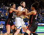 BROOKINGS, SD - FEBRUARY 8: Megan Bultsma #50 of the South Dakota State Jackrabbits is tied up with Josie Filer #25 and Mariah Murdie #33 of the Omaha Mavericks at Frost Arena February 8, 2020 in Brookings, South Dakota. (Photo by Dave Eggen/Inertia)