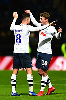Preston North End's Ryan Ledson celebrates with Alan Browne<br /> <br /> Photographer Richard Martin-Roberts/CameraSport<br /> <br /> The EFL Sky Bet Championship - Preston North End v Blackburn Rovers - Saturday 24th November 2018 - Deepdale Stadium - Preston<br /> <br /> World Copyright © 2018 CameraSport. All rights reserved. 43 Linden Ave. Countesthorpe. Leicester. England. LE8 5PG - Tel: +44 (0) 116 277 4147 - admin@camerasport.com - www.camerasport.com