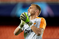 5th November 2019; Mestalla, Valencia, Spain; UEFA Champions League Football,Valencia versus Lille; Goal Keeper Cillessen greets the crowd as he starts to warm up prior to the game - Editorial Use
