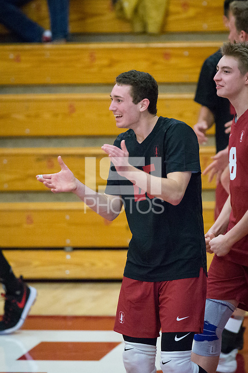 STANFORD, CA - December 30, 2017: Jake Stuebner at Burnham Pavilion. The Stanford Cardinal defeated the Calgary Dinos 3-1.