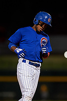 AZL Cubs 1 Oswaldo Pina (60) rounds the bases after hitting a home run during an Arizona League game against the AZL Athletics Gold at Sloan Park on June 20, 2019 in Mesa, Arizona. AZL Athletics Gold defeated AZL Cubs 1 21-3. (Zachary Lucy/Four Seam Images)