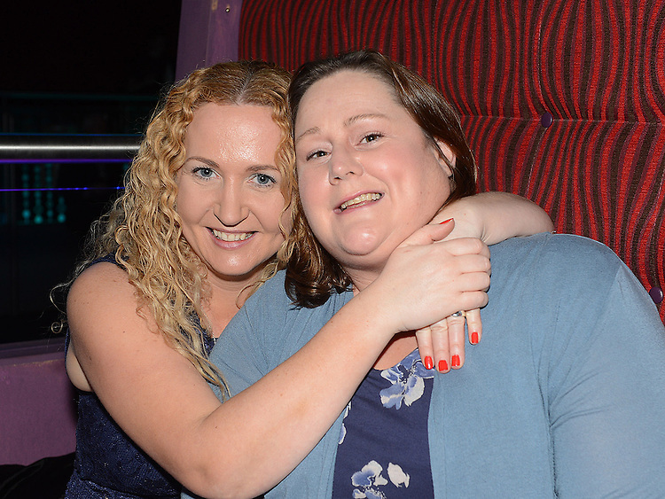 Linda Clarke and Siobhan Ryan pictured at the benefit night for DJ Tayo Sheridan in Galaxy Night Club. Photo:Colin Bell/pressphotos.ie