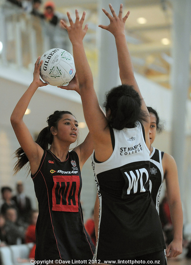 Sacred Heart wing attack Danii Va'a in action during the 2012 College Sport Wellington Premier Netball Tournament final between St Mary's College and Sacred Heart College at the ASB Sports Centre, Kilbirnie, Wellington, New Zealand on Thursday, 17 May 2012. Photo: Dave Lintott / lintottphoto.co.nz