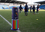 Rainbow Laces ball plinth during the The FA Women's Championship match at the Proact Stadium, Chesterfield. Picture date: 8th December 2019. Picture credit should read: Simon Bellis/Sportimage