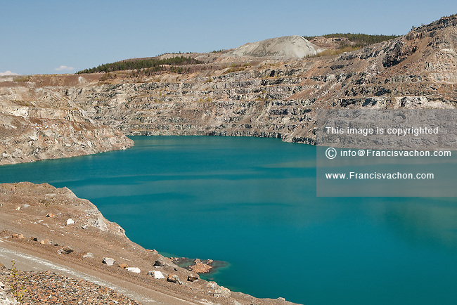 Water is filling up an abandoned asbestos mining site in Thetford Mines (Quebec, Canada) May 13, 2009. Thetford Mines was founded in 1876 after the discovery of large asbestos deposits in the area, and the city became a hub for one of the world's largest asbestos-producing regions