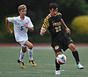 Nick Gutekunst #25 of St. Anthony's, right, settles a pass during a Nassau-Suffolk CHSAA varsity boys soccer game against host Kellenberg High School on Thursday, Sept. 21, 2017. He scored the lone goal of the match early in the second half to help St. Anthony's to a 1-0 win.