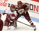 Jillian Dempsey (Harvard - 14), Kaliya Johnson (BC - 6) - The Boston College Eagles defeated the Harvard University Crimson 2-1 in the opening game of the 2013 Beanpot on Tuesday, February 5, 2013, at Matthews Arena in Boston, Massachusetts.