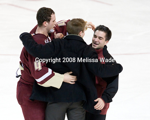 Mike Brennan (BC - 4), Brock Bradford (BC - 19), Justin Murphy (BC - Manager) - The Boston College Eagles defeated the Miami University Redhawks 4-3 in overtime on Sunday, March 30, 2008 in the NCAA Northeast Regional Final at the DCU Center in Worcester, Massachusetts.