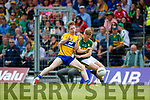 Donchadh O'Sullivan Kerry in action against Joe Miniter Clare in the Munster Minor Football Final at Fitzgerald Stadium on Sunday.