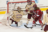 Corinne Boyles (BC - 29), Dru Burns (BC - 7), Jillian Dempsey (Harvard - 14) - The Boston College Eagles defeated the visiting Harvard University Crimson 3-1 in their NCAA quarterfinal matchup on Saturday, March 16, 2013, at Kelley Rink in Conte Forum in Chestnut Hill, Massachusetts.