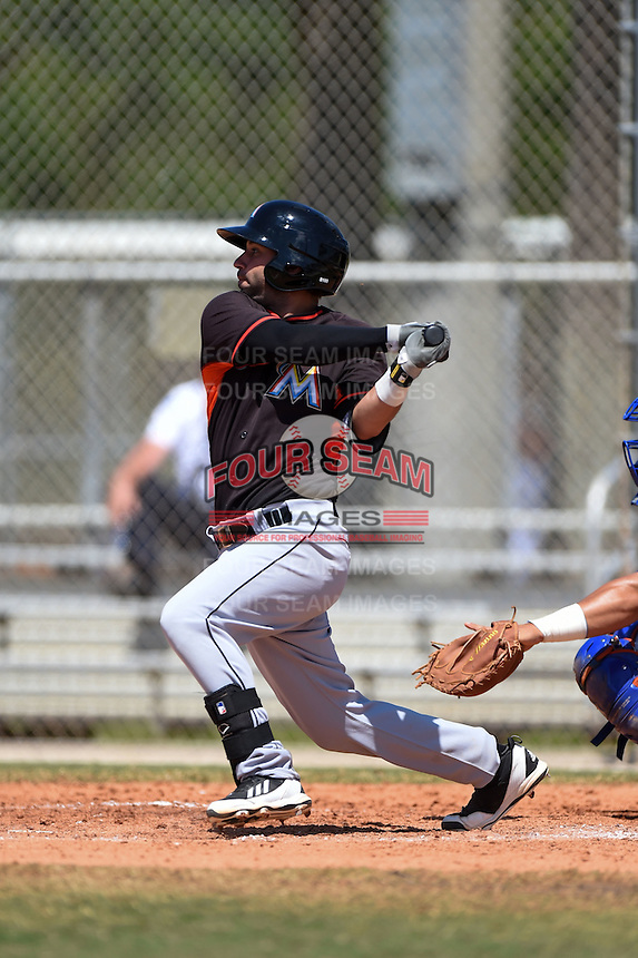 Miami Marlins Anthony Gomez (13) during a minor league spring training game against the New York Mets on March 30, 2015 at the Roger Dean Complex in Jupiter, Florida.  (Mike Janes/Four Seam Images)