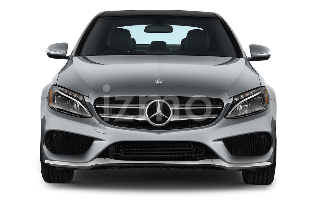 Car photography straight front view of a 2015 Mercedes Benz C-Class C300 Sport 4 Door Sedan Front View