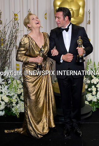 """MERYL STREEP AND JEAN DUJARDIN.Meryl winner of the Best Actress Award for her role in the """"Iron Lady""""  and Jean winner of the Best Actor Award for his role in """"The Artist"""" at the 84th Academy Awards, Kodak Theatre, Hollywood, Los Angeles_26/02/2012.Mandatory Photo Credit: ©Dias/Newspix International..**ALL FEES PAYABLE TO: """"NEWSPIX INTERNATIONAL""""**..PHOTO CREDIT MANDATORY!!: NEWSPIX INTERNATIONAL(Failure to credit will incur a surcharge of 100% of reproduction fees)..IMMEDIATE CONFIRMATION OF USAGE REQUIRED:.Newspix International, 31 Chinnery Hill, Bishop's Stortford, ENGLAND CM23 3PS.Tel:+441279 324672  ; Fax: +441279656877.Mobile:  0777568 1153.e-mail: info@newspixinternational.co.uk"""