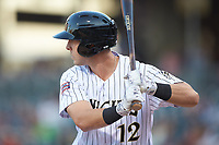 Matt Skole (12) of the Charlotte Knights at bat against the Scranton/Wilkes-Barre RailRiders at BB&T BallPark on April 12, 2018 in Charlotte, North Carolina.  The RailRiders defeated the Knights 11-1.  (Brian Westerholt/Four Seam Images)