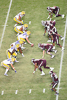 LSU center Ethan Pocic (77) set to take a snap during an NCAA football game, Thursday, November 27, 2014 in College Station, Tex. LSU defeated Texas A&M 23-17. (Mo Khursheed/TFV Media via AP Images)