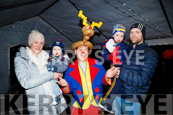 Marie John and Ria Kelly Meets Kenny the Clown before Santa arrives in Castleisland on Friday
