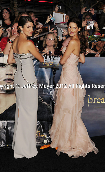 LOS ANGELES, CA - NOVEMBER 12: Nikki Reed and Ashley Greene arrive at 'The Twilight Saga: Breaking Dawn - Part 2' Los Angeles premiere at Nokia Theatre L.A. Live on November 12, 2012 in Los Angeles, California.