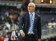 Washington, DC - March 11, 2018: Rhode Island Rams head coach Dan Hurley during the Atlantic 10 championship game between Rhode Island and Davidson at  Capital One Arena in Washington, DC.   (Photo by Elliott Brown/Media Images International)