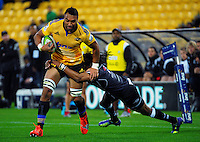 Victor Vito in action during the Super Rugby match between the Hurricanes and Sharks at Westpac Stadium, Wellington, New Zealand on Saturday, 9 May 2015. Photo: Dave Lintott / lintottphoto.co.nz