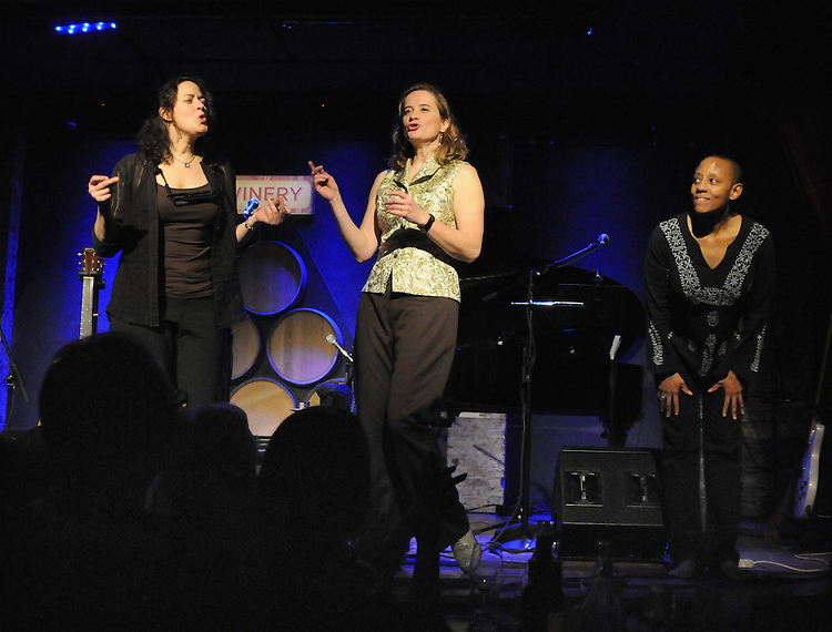 Left to right- Trina Hamlin, Susan Werner  and Gail Ann Dorsey performing at the City Winery, 155 Varick Street, NYC on Sunday, March 6, 2011. Photograph by Jim Peppler. Copyright Jim Peppler/2011.