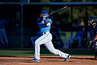AZL Royals Edickson Soto (19) hits a grand slam during an Arizona League game against the AZL Brewers Blue at Surprise Stadium on June 18, 2019 in Surprise, Arizona. AZL Royals defeated AZL Brewers Blue 12-7. (Zachary Lucy/Four Seam Images)