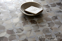 Constantine, a stone water jet mosaic shown in Allure and Pallisandra crosscut honed, is part of the Talya Collection by Sara Baldwin for Marble Systems.