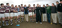 01 MAR 2008 - SCUNTHORPE, UK - Loughborough Students Head Coach Dave Morris congratulates the team on their victory and promotion - Scunthorpe RUFC  v Loughborough Students RUFC. (PHOTO (C) NIGEL FARROW)