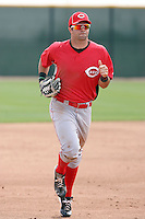 Ryan LaMarre #16 of the Cincinnati Reds plays in a minor league spring training game against the Arizona Diamondbacks at Salt River Fields on March 15, 2011 in Scottsdale, Arizona. .Photo by:  Bill Mitchell/Four Seam Images.