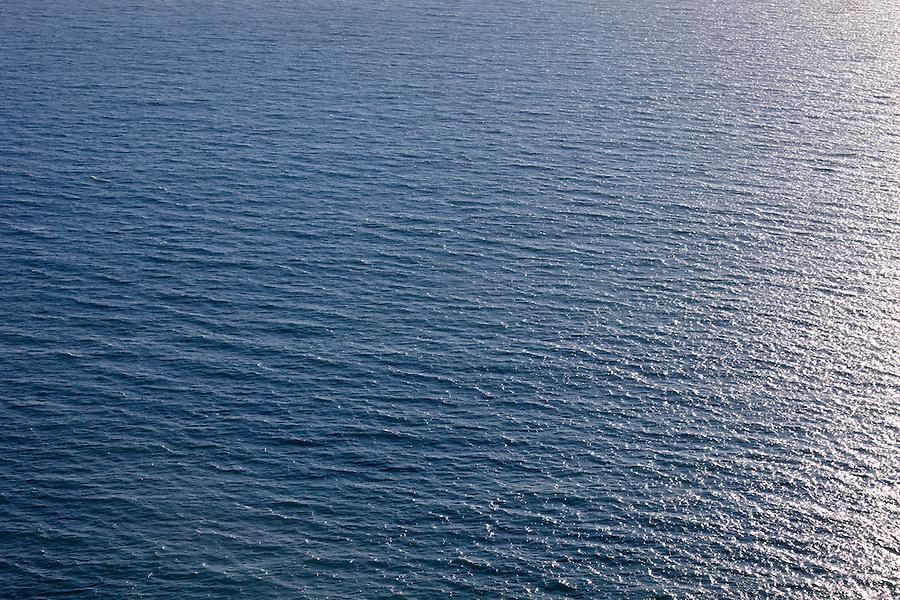 Blue seascape of the Pacific Ocean in Malibu, California, USA