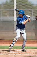 Los Angeles Dodgers catcher Hunter Feduccia (76) at bat during an Instructional League game against the Milwaukee Brewers at Maryvale Baseball Park on September 24, 2018 in Phoenix, Arizona. (Zachary Lucy/Four Seam Images)