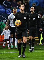 Referee Robert Jones leads the teams out<br /> <br /> Photographer Andrew Kearns/CameraSport<br /> <br /> The EFL Sky Bet Championship - Bolton Wanderers v Leeds United - Saturday 15th December 2018 - University of Bolton Stadium - Bolton<br /> <br /> World Copyright &copy; 2018 CameraSport. All rights reserved. 43 Linden Ave. Countesthorpe. Leicester. England. LE8 5PG - Tel: +44 (0) 116 277 4147 - admin@camerasport.com - www.camerasport.com