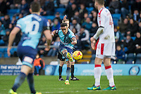 Paris Cowan-Hall of Wycombe Wanderers hits a shot at goal during the Sky Bet League 2 match between Wycombe Wanderers and Crawley Town at Adams Park, High Wycombe, England on 25 February 2017. Photo by Andy Rowland / PRiME Media Images.