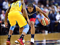 Washington, DC - June 15, 2018: Washington Mystics guard Tierra Ruffin-Pratt (14) brings the ball up court against Chicago Sky guard Jamierra Faulkner (21) during game between the Washington Mystics and Chicago Sky at the Capital One Arena in Washington, DC. (Photo by Phil Peters/Media Images International)