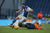 Blackburn Rovers' Elliott Bennett is tackled by Oldham Athletic's Wilfried Moimbe<br /> <br /> Photographer Stephen White/CameraSport<br /> <br /> The EFL Sky Bet League One - Blackburn Rovers v Oldham Athletic - Saturday 10th February 2018 - Ewood Park - Blackburn<br /> <br /> World Copyright &copy; 2018 CameraSport. All rights reserved. 43 Linden Ave. Countesthorpe. Leicester. England. LE8 5PG - Tel: +44 (0) 116 277 4147 - admin@camerasport.com - www.camerasport.com