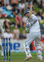 Kumar Sangakkara lets a delivery go during day one of the 2nd cricket test match between the New Zealand Black Caps and Sri Lanka at the Hawkins Basin Reserve, Wellington, New Zealand on Saturday, 3 February 2015. Photo: Dave Lintott / lintottphoto.co.nz