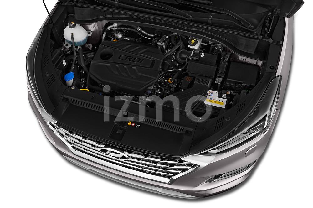 Car stock 2019 Hyundai Tucson Shine 5 Door SUV engine high angle detail view